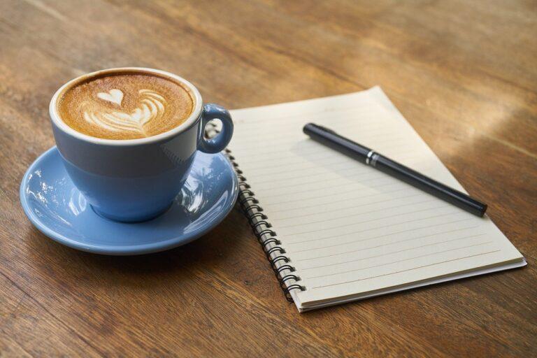 coffee, pen, notebook